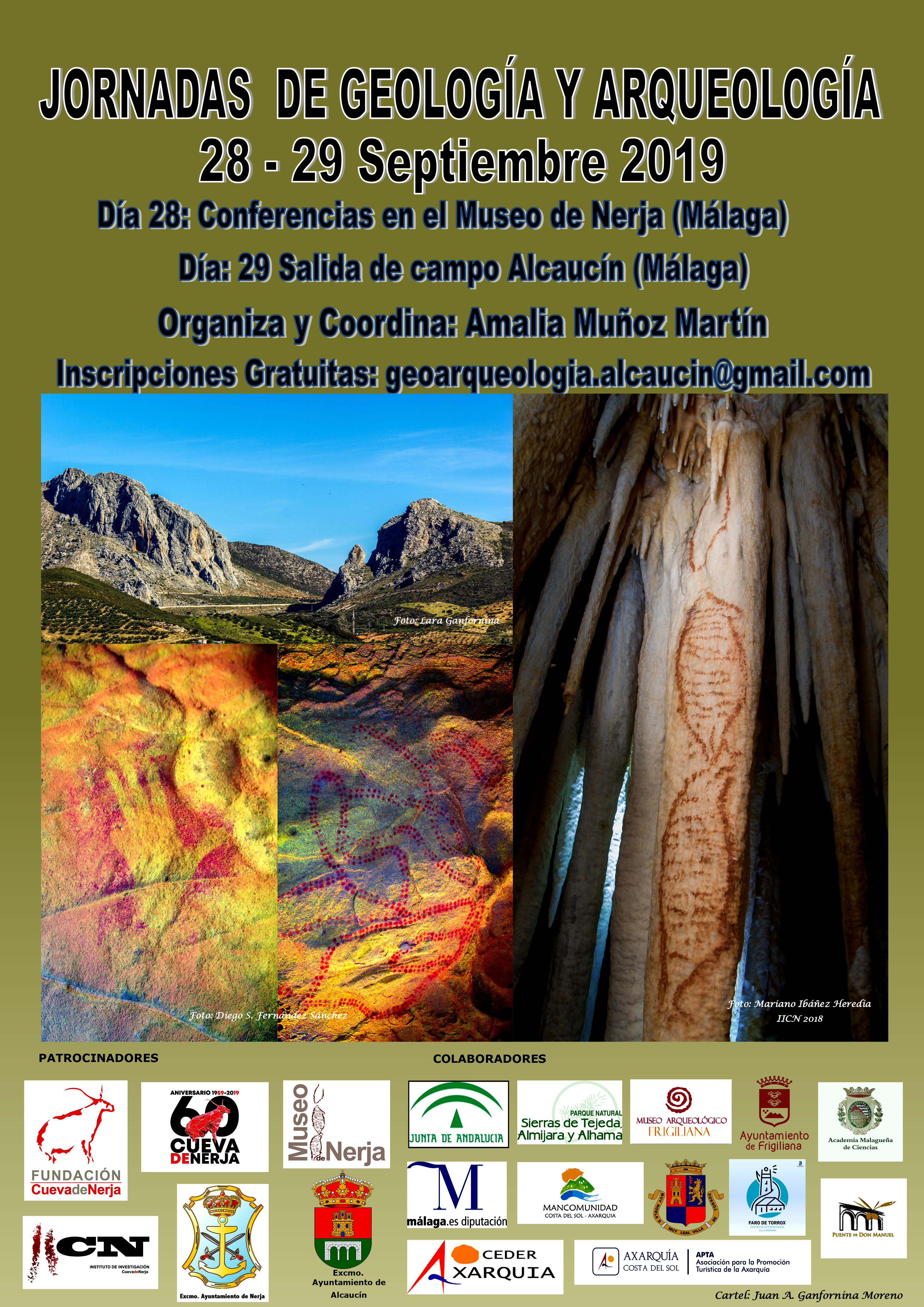 cartel jornadas geología y arqueología en nerja