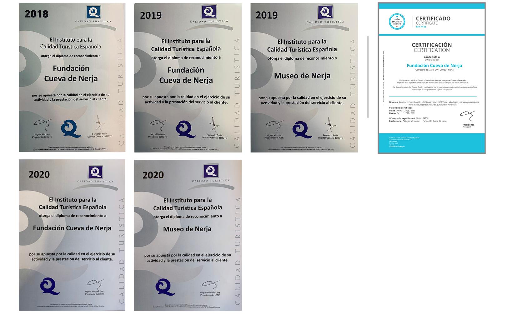 diplomas calidad Cueva de Nerja 2020